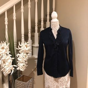 Tops - Ann Taylor navy blue ruffled blouse